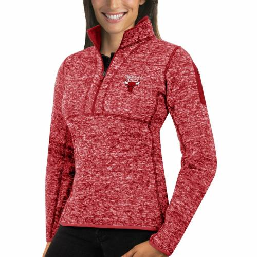 ANTIGUA シカゴ ブルズ レディース 【 Chicago Bulls Womens Fortune Half-zip Pullover Jacket 】 Heather Red