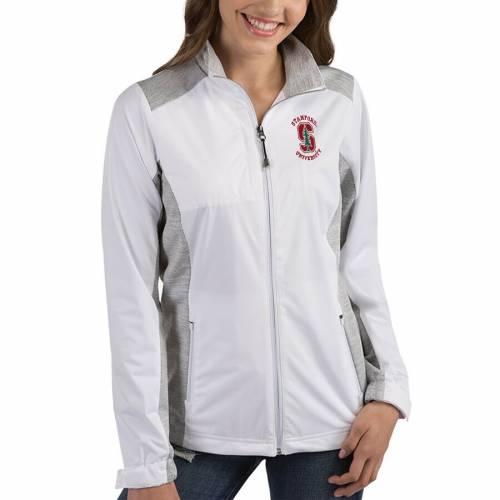 ANTIGUA スタンフォード 赤 カーディナル レディース チャコール 【 Stanford Cardinal Womens Revolve Full-zip Jacket - Charcoal 】 White