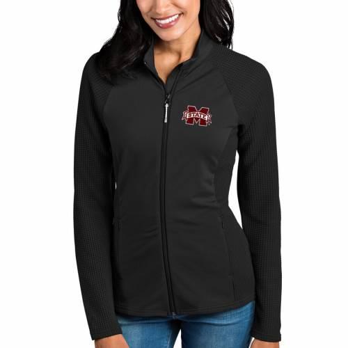 ANTIGUA スケートボード レディース 黒 ブラック 【 Mississippi State Bulldogs Womens Sonar Full-zip Jacket - Black 】 Black