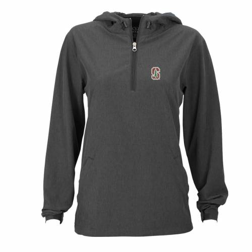 VANTAGE APPAREL スタンフォード 赤 カーディナル レディース チャコール 【 Stanford Cardinal Womens Pullover Stretch Anorak Jacket - Charcoal 】 Charcoal