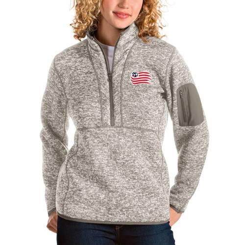 ANTIGUA レディース 【 New England Revolution Womens Fortune Quarter-zip Pullover Jacket - Tan 】 Tan