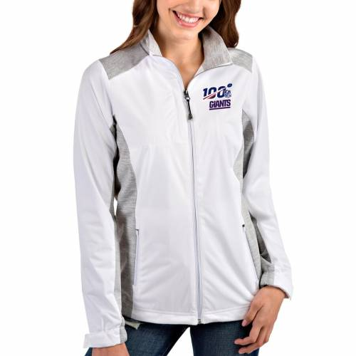 ANTIGUA ジャイアンツ レディース 灰色 グレー グレイ 【 New York Giants Womens Nfl 100 Revolve Full-zip Jacket - White/heather Gray 】 White/heather Gray
