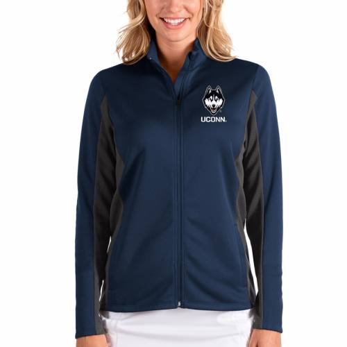 ANTIGUA コネチカット レディース 【 Uconn Huskies Womens Passage Full-zip Jacket - Navy/charcoal 】 Navy/charcoal