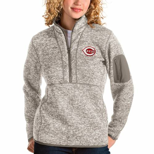 ANTIGUA シンシナティ レッズ レディース 【 Cincinnati Reds Womens Fortune Quarter-zip Pullover Jacket - Oatmeal 】 Oatmeal