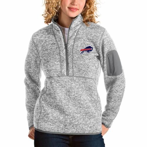 ANTIGUA バッファロー ビルズ レディース 【 Buffalo Bills Womens Fortune Half-zip Pullover Jacket - Oatmeal 】 Gray