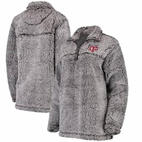 BOXERCRAFT テキサス レディース 【 Texas Aandm Aggies Womens Sherpa Super Soft Quarter-zip Pullover Jacket 】 Gray