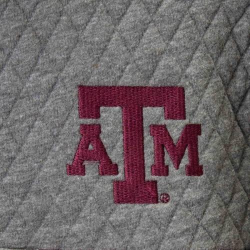 PRESSBOX テキサス レディース 【 Texas Aandm Aggies Womens Magnum Quilted Quarter-snap Pullover Jacket - Heathered Gray/maroon 】 Heathered Gray/maroon