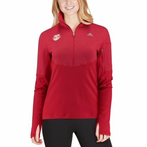 アディダス ADIDAS 赤 レッド ブルズ レディース 【 New York Red Bulls Womens Climalite Half-zip Pullover Jacket - Red 】 Red