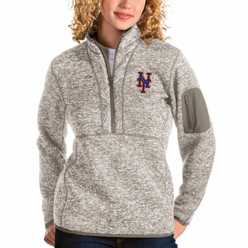 ANTIGUA メッツ レディース 【 New York Mets Womens Fortune Quarter-zip Pullover Jacket - Oatmeal 】 Oatmeal