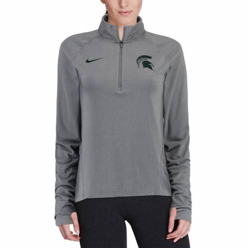 ナイキ NIKE ミシガン スケートボード レディース エレメント パフォーマンス 灰色 グレー グレイ 【 Michigan State Spartans Womens Element Essential Performance Half-zip Pullover Jacket - Heathered Gray 】 Heathe
