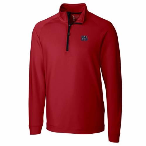 CUTTER & BUCK シンシナティ ベンガルズ ニット 赤 レッド メンズファッション コート ジャケット メンズ 【 Cincinnati Bengals Cutter And Buck Americana Jackson Knit Quarter-zip Pullover Jacket - Red 】 Red