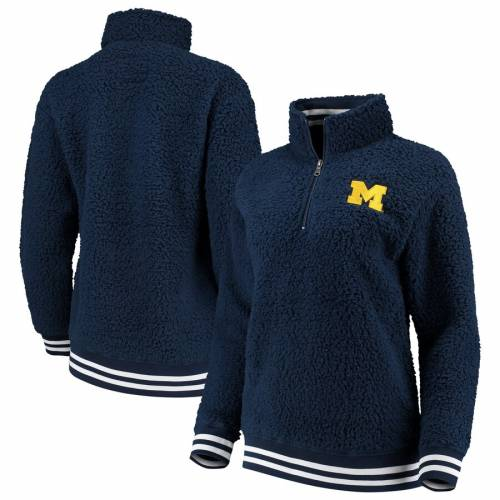 BOXERCRAFT ミシガン レディース 紺 ネイビー 【 Michigan Wolverines Womens Varsity Banded Sherpa Quarter-zip Pullover Jacket - Navy 】 Navy