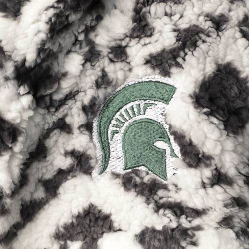 PRESSBOX ミシガン スケートボード レディース 【 Michigan State Spartans Womens Tribal Poodle Sherpa Quarter-zip Jacket - White/black 】 White/black