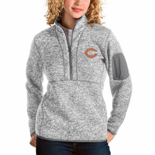 【スーパーセール中! 6/11深夜2時迄】ANTIGUA シカゴ ベアーズ レディース 【 Chicago Bears Womens Fortune Half-zip Pullover Jacket 】 Gray