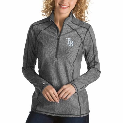 【スーパーセール中! 6/11深夜2時迄】ANTIGUA レイズ レディース 【 Tampa Bay Rays Womens Tempo Desert Dry 1/4-zip Pullover Jacket 】 Charcoal