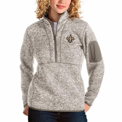 ANTIGUA セインツ レディース 【 New Orleans Saints Womens Fortune Half-zip Pullover Jacket - Oatmeal 】 Oatmeal