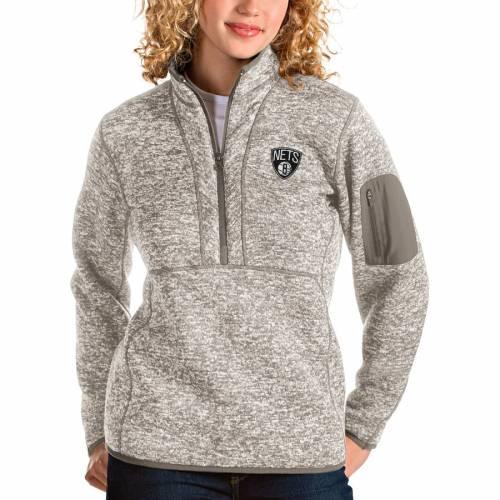ANTIGUA ブルックリン ネッツ レディース ナチュラル 【 Brooklyn Nets Womens Fortune Quarter-zip Pullover Jacket - Natural 】 Natural