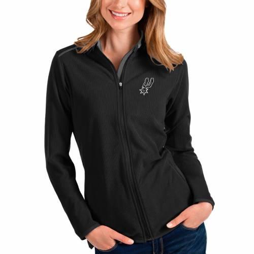 ANTIGUA スパーズ レディース 【 San Antonio Spurs Womens Glacier Full-zip Jacket - Black/gray 】 Black
