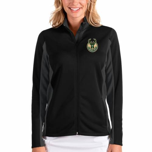 ANTIGUA ミルウォーキー バックス レディース 【 Milwaukee Bucks Womens Passage Full-zip Jacket - Black/charcoal 】 Black/charcoal