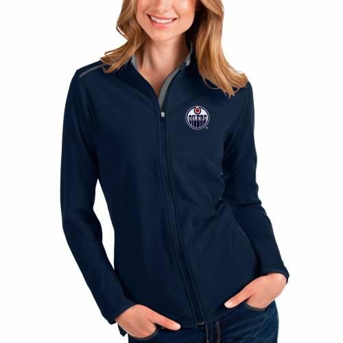 ANTIGUA レディース 【 Edmonton Oilers Womens Glacier Full-zip Jacket - Navy/charcoal 】 Navy