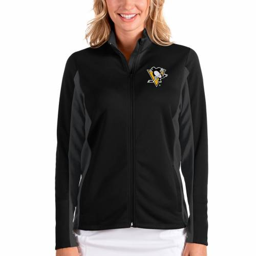 ANTIGUA ピッツバーグ レディース 【 Pittsburgh Penguins Womens Passage Full-zip Jacket - Black/charcoal 】 Black/charcoal