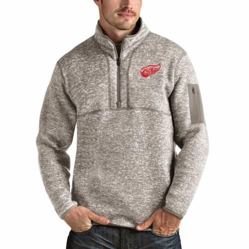 ANTIGUA デトロイト 赤 レッド チャコール メンズファッション コート ジャケット メンズ 【 Detroit Red Wings Fortune 1/2-zip Pullover Jacket - Charcoal 】 Oatmeal