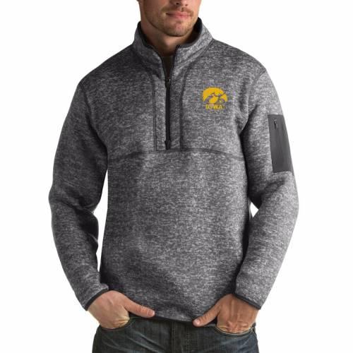 ANTIGUA 黒 ブラック メンズファッション コート ジャケット メンズ 【 Iowa Hawkeyes Fortune Big And Tall Quarter-zip Pullover Jacket - Black 】 Charcoal