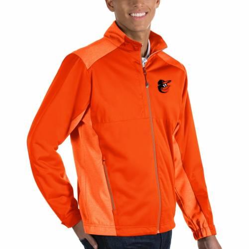 ANTIGUA ボルティモア オリオールズ 黒 ブラック メンズファッション コート ジャケット メンズ 【 Baltimore Orioles Revolve Full-zip Jacket - Black 】 Orange
