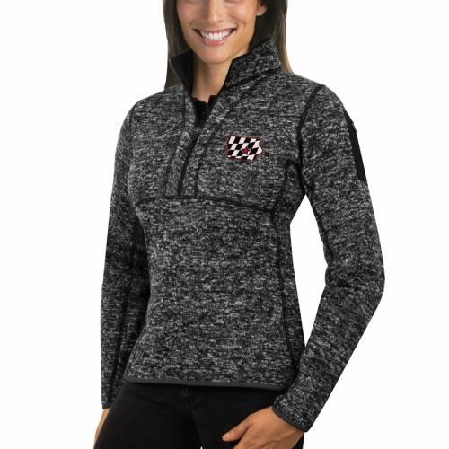 ANTIGUA レディース スケートボード ハーフ 黒 ブラック 【 Iowa Speedway Womens State Fortune Half Zip Pullover Jacket - Black 】 Black