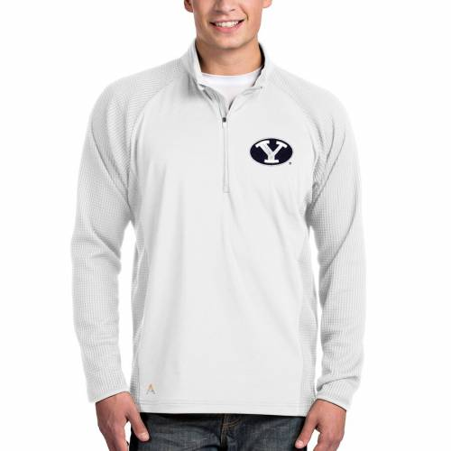 ANTIGUA ブリガムヤング 白 ホワイト メンズファッション コート ジャケット メンズ 【 Byu Cougars Sonar Quarter-zip Pullover Jacket - White 】 White
