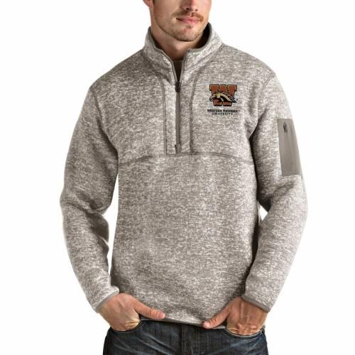 ANTIGUA ミシガン ブロンコス メンズファッション コート ジャケット メンズ 【 Western Michigan Broncos Fortune Half-zip Pullover Jacket - Oatmeal 】 Oatmeal