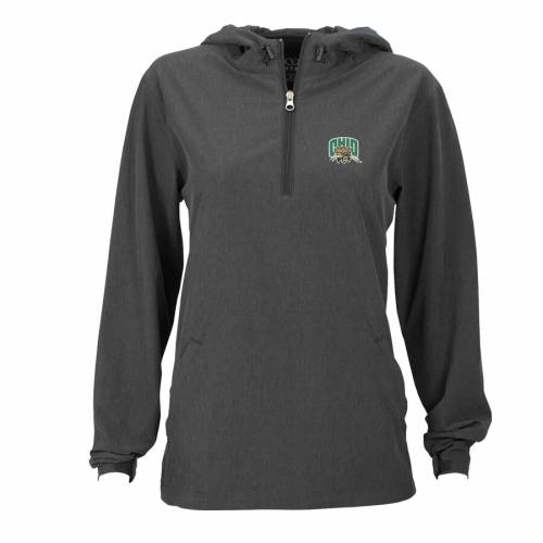 VANTAGE APPAREL オハイオ ボブキャッツ レディース チャコール 【 Ohio Bobcats Womens Pullover Stretch Anorak Jacket - Charcoal 】 Charcoal