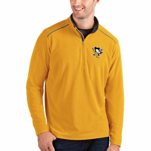 ANTIGUA ピッツバーグ 黒 ブラック メンズファッション コート ジャケット メンズ 【 Pittsburgh Penguins Glacier Quarter-zip Pullover Jacket - Black 】 Gold