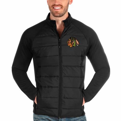 ANTIGUA シカゴ 黒 ブラック メンズファッション コート ジャケット メンズ 【 Chicago Blackhawks Altitude Full-zip Jacket - Black 】 Black
