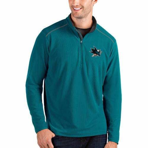 ANTIGUA 黒 ブラック メンズファッション コート ジャケット メンズ 【 San Jose Sharks Glacier Quarter-zip Pullover Jacket - Black 】 Teal