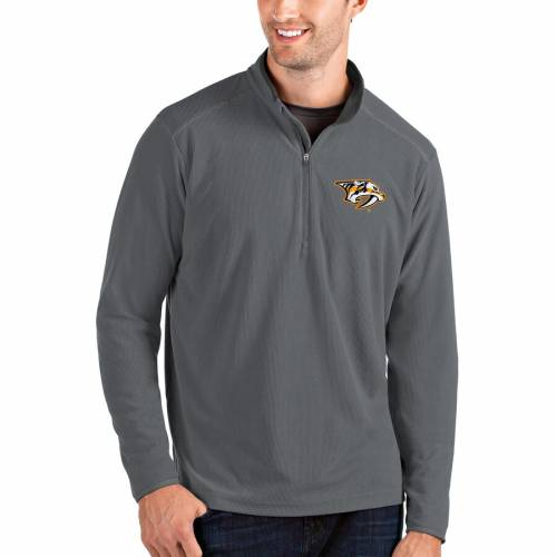 ANTIGUA メンズファッション コート ジャケット メンズ 【 Nashville Predators Glacier Quarter-zip Pullover Jacket - Gold 】 Gray