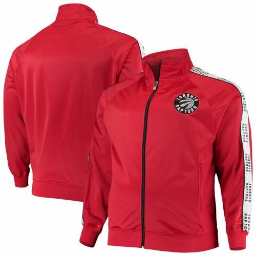 PROFILE トロント ラプターズ マジェスティック スリーブ トラック 赤 レッド メンズファッション コート ジャケット メンズ 【 Toronto Raptors Majestic Big And Tall Sleeve Taping Full-zip Track Jacket - Red