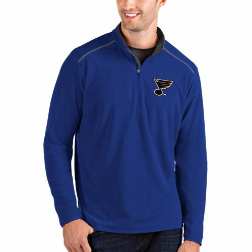 ANTIGUA 灰色 グレー グレイ St. メンズファッション コート ジャケット メンズ 【 St. Louis Blues Glacier Quarter-zip Pullover Jacket - Gray 】 Royal