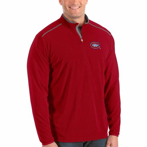 ANTIGUA 赤 レッド メンズファッション コート ジャケット メンズ 【 Montreal Canadiens Big And Tall Glacier Quarter-zip Pullover Jacket - Red 】 Red