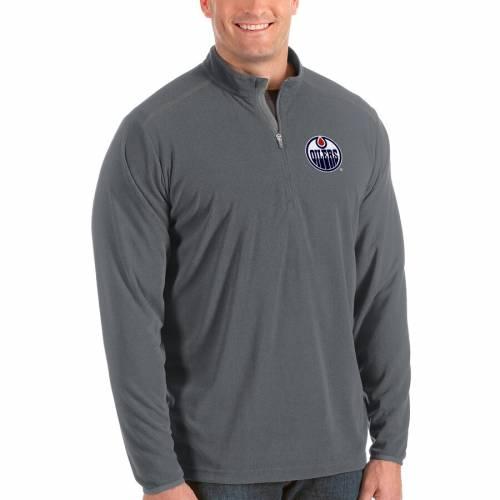 ANTIGUA 紺 ネイビー メンズファッション コート ジャケット メンズ 【 Edmonton Oilers Big And Tall Glacier Quarter-zip Pullover Jacket - Navy 】 Steel
