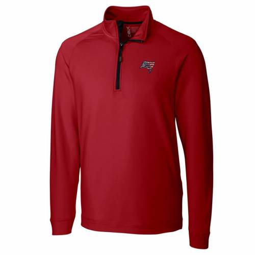 CUTTER & BUCK バッカニアーズ ニット 赤 レッド メンズファッション コート ジャケット メンズ 【 Tampa Bay Buccaneers Cutter And Buck Americana Jackson Knit Quarter-zip Pullover Jacket - Red 】 Red