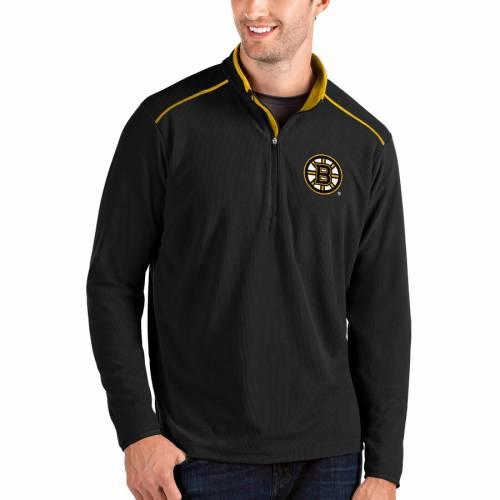 ANTIGUA ボストン 黒 ブラック メンズファッション コート ジャケット メンズ 【 Boston Bruins Glacier Quarter-zip Pullover Jacket - Black 】 Black