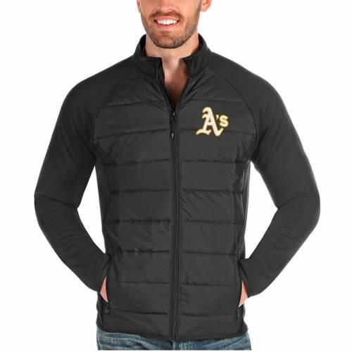 ANTIGUA オークランド チャコール メンズファッション コート ジャケット メンズ 【 Oakland Athletics Altitude Full-zip Jacket - Charcoal 】 Charcoal