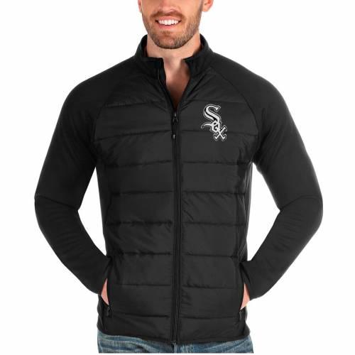 ANTIGUA シカゴ 白 ホワイト 黒 ブラック メンズファッション コート ジャケット メンズ 【 Chicago White Sox Altitude Full-zip Jacket - Black 】 Black