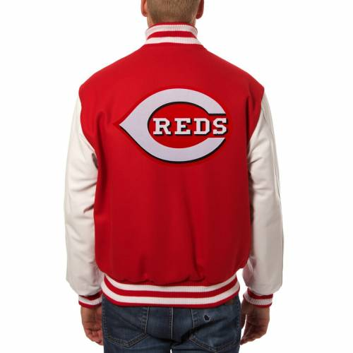 JH DESIGN シンシナティ レッズ レザー 赤 レッド 白 ホワイト & 【 RED WHITE JH DESIGN CINCINNATI REDS BIG TALL EMBROIDERED WOOL LEATHER JACKET 】 メンズファッション コート ジャケット