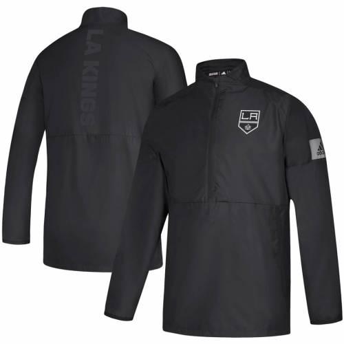 アディダス ADIDAS キングス ゲーム 黒 ブラック メンズファッション コート ジャケット メンズ 【 Los Angeles Kings Game Mode Quarter-zip Jacket - Black 】 Black