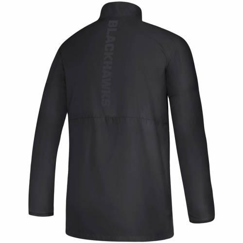 アディダス ADIDAS シカゴ ゲーム 黒 ブラック メンズファッション コート ジャケット メンズ 【 Chicago Blackhawks Game Mode Climalite Quarter-zip Jacket - Black 】 Black