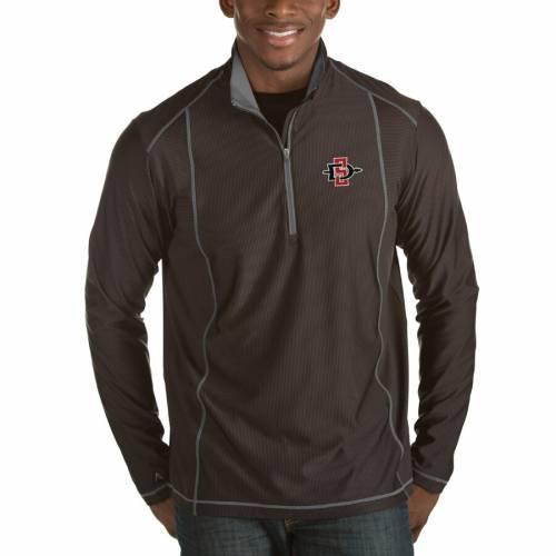 ANTIGUA スケートボード 黒 ブラック メンズファッション コート ジャケット メンズ 【 San Diego State Aztecs Tempo 1/2-zip Desert Dry Pullover Jacket - Black 】 Black