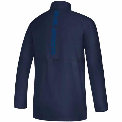 アディダス ADIDAS 青 ブルー ゲーム 紺 ネイビー メンズファッション コート ジャケット メンズ 【 Columbus Blue Jackets Game Mode Climalite Quarter-zip Jacket - Navy 】 Navy