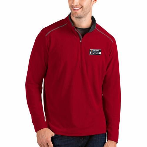 ANTIGUA シリーズ メンズファッション コート ジャケット メンズ 【 2020 Nascar Cup Series Glacier Quarter-zip Pullover Jacket - Black/charcoal 】 Red